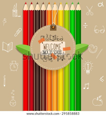 Welcome back to school with paper note and color pencils background, vector illustration. - stock vector