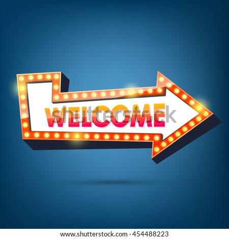 Welcome billboard. Retro arrow light frames. - stock vector