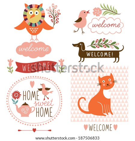 welcome home decor elements - stock vector