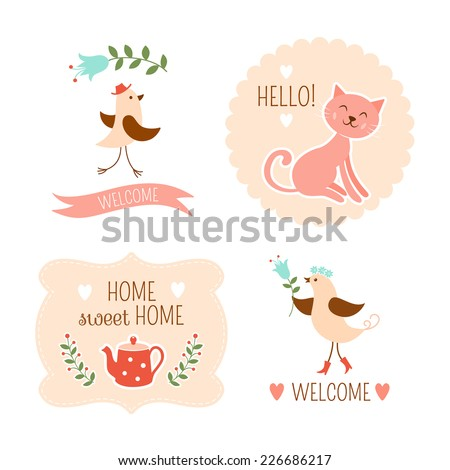 Welcome home decorative elements - stock vector