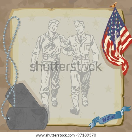 Welcome Home Hero Military Party Invitation  Loosely drawn American Flag, dog tags, and vintage military men against grungy old paper with a camouflage background. - stock vector