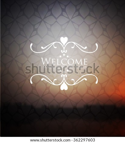 Welcome lettering on blurred background - stock vector