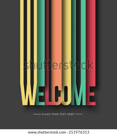 Welcome paper cut text on abstract background with drop shadows. Vector illustration. - stock vector