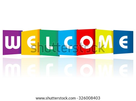Welcome paper text on a white background. - stock vector