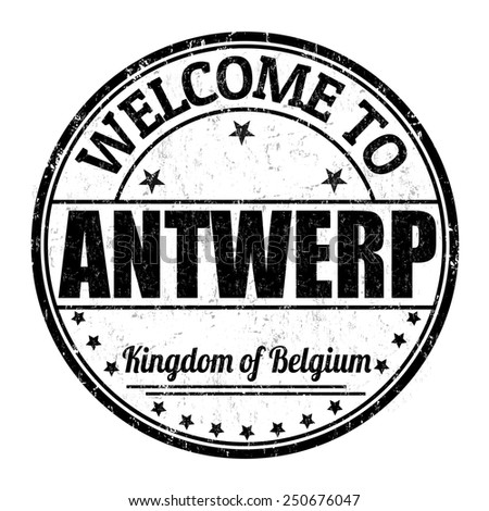 Welcome to Antwerp, Belgium grunge rubber stamp on white background, vector illustration - stock vector