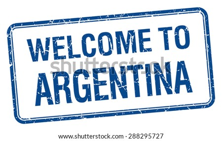 welcome to Argentina blue grunge square stamp - stock vector