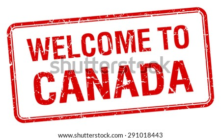 welcome to Canada red grunge square stamp - stock vector