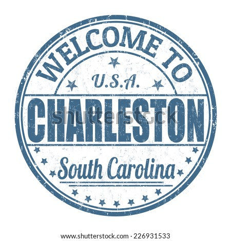 Welcome to Charleston grunge rubber stamp on white background, vector illustration - stock vector