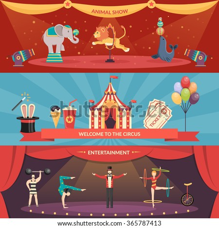 Welcome to circus entertainment flat horizontal banners set of animals show and performance with acrobats and magician vector illustration   - stock vector