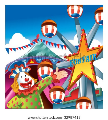 welcome to funfair - stock vector