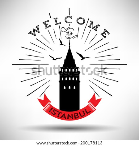 Welcome to Istanbul Vintage Design - stock vector