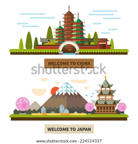 Welcome to Japan and China. Temples and Mount Fuji landscapes. Vector Flat illustrations - stock vector