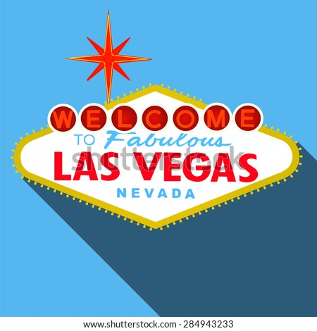 Welcome to Las Vegas Sign Flat Design Vector - stock vector