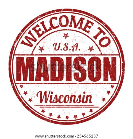 Welcome to Madison grunge rubber stamp on white background, vector illustration - stock vector