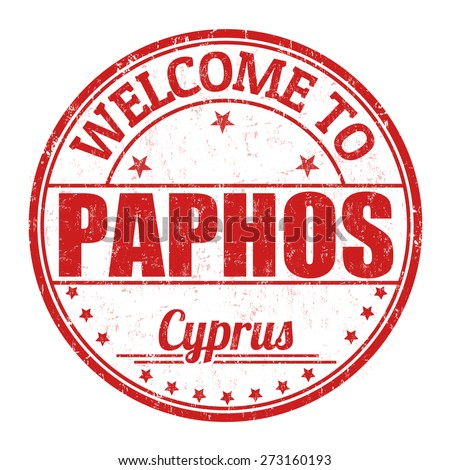 Welcome to Paphos grunge rubber stamp on white background, vector illustration - stock vector