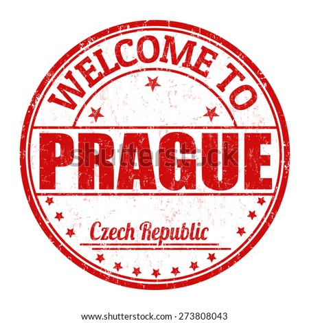 Welcome to Prague grunge rubber stamp on white background, vector illustration - stock vector