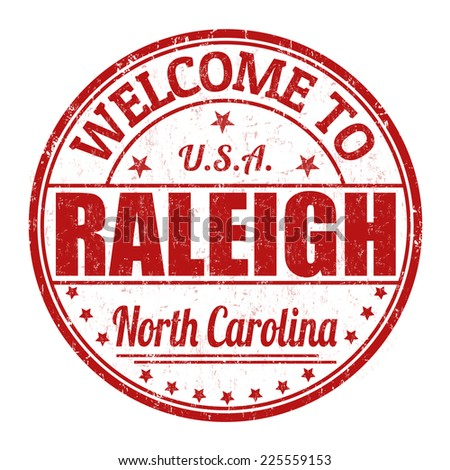 Welcome to Raleigh grunge rubber stamp on white background, vector illustration - stock vector