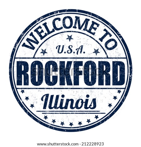 Welcome to Rockford grunge rubber stamp on white background, vector illustration - stock vector