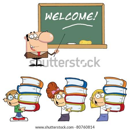 Welcome To School 3. Vector illustration - stock vector