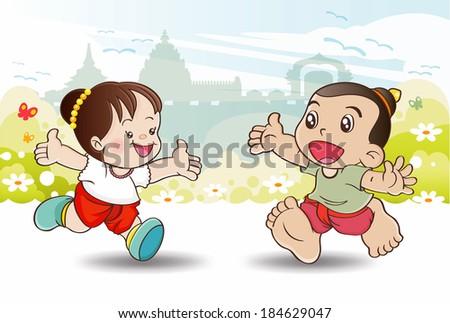 Welcome to Songkran Festival Thailand, illustrator vector - stock vector
