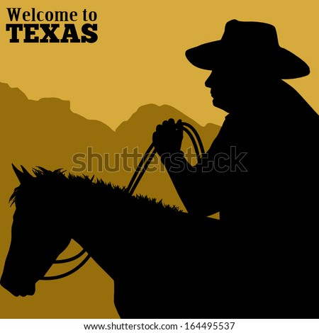 Welcome to Texas poster with silhouette of cowboy riding wild horse, vector illustration - stock vector
