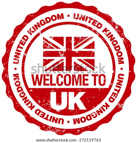 welcome to united kingdom stamp - stock vector