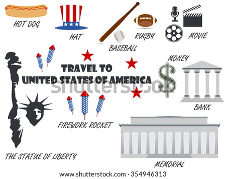 Welcome to USA. Symbols United States. Set of icons. Vector. - stock vector