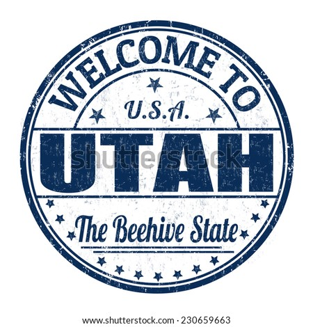 Welcome to Utah grunge rubber stamp on white background, vector illustration - stock vector