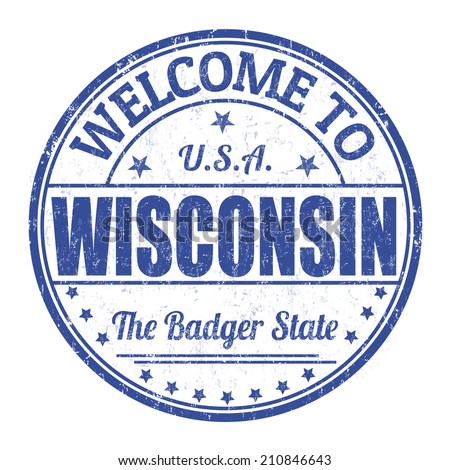 Welcome to Wisconsin grunge rubber stamp on white background, vector illustration - stock vector