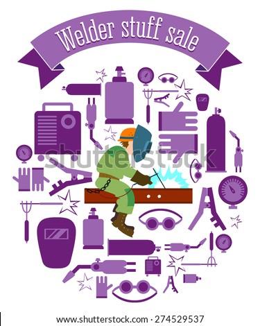 Welder stuff sale set tags - stock vector