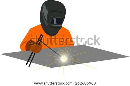 Welder welding dressed in an orange jumpsuit and helmet type mask - stock vector