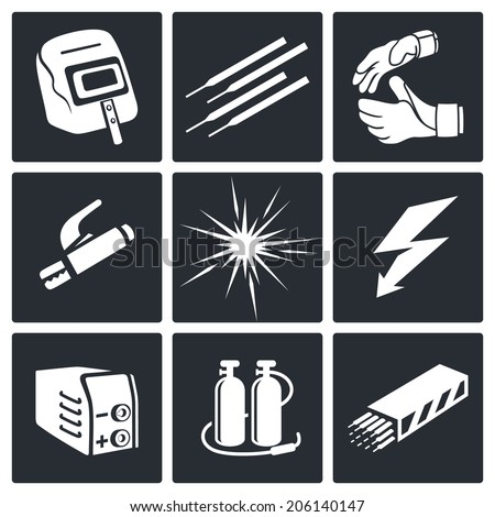 Welding icon set - stock vector