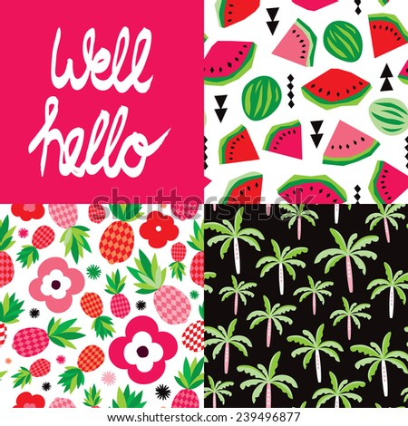 Well hello hand lettering and tropical hot summer palm tree pineapple and water melon seamless background pattern set in vector - stock vector