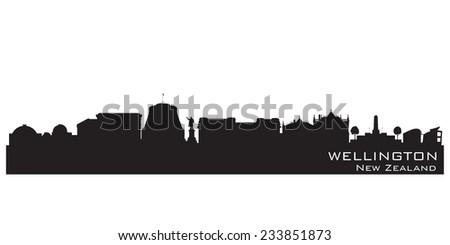 Wellington New Zealand skyline Detailed vector silhouette - stock vector