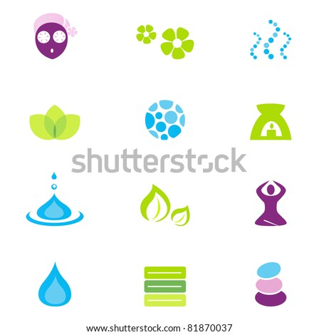 Wellness, spa and nature vector icons isolated on white - stock vector