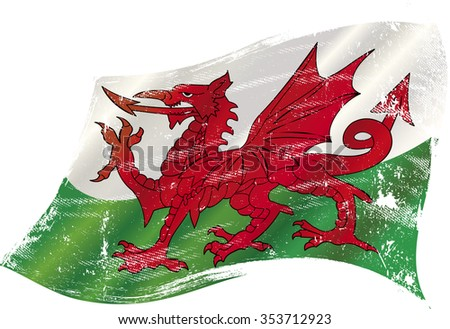 Welsh grunge waving flag. A grunge flag of Wales with the red dragon in the wind - stock vector