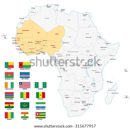 west africa map with flags - stock vector