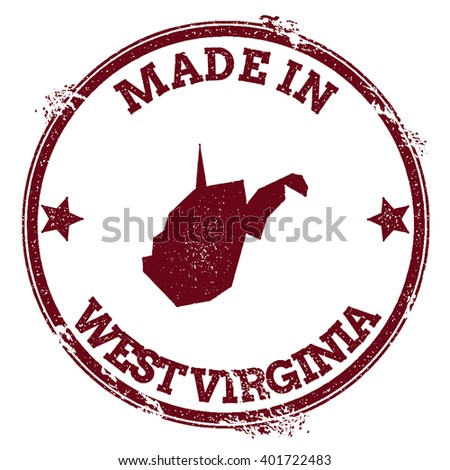 West Virginia vector seal. Vintage USA state map stamp. Grunge rubber stamp with Made in West Virginia text and USA state map, vector illustration. - stock vector