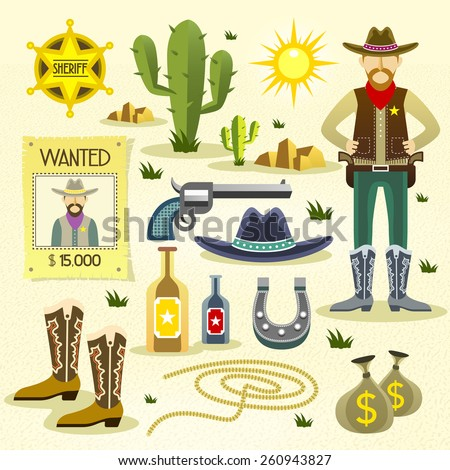 western cowboy flat icons set isolated over desert background - stock vector