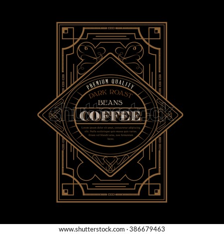 Western Design Template for Handcrafted Coffee Label Design Flourishes Calligraphy Template - stock vector