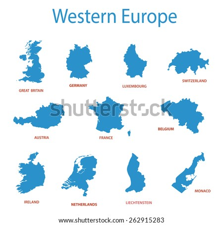 western europe - vector maps of territories - stock vector