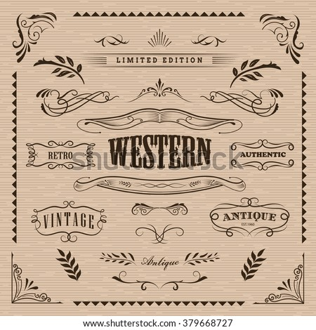 Western frame hand drawn banners vintage badge vector - stock vector
