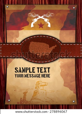 Western poster with leather belt - stock vector