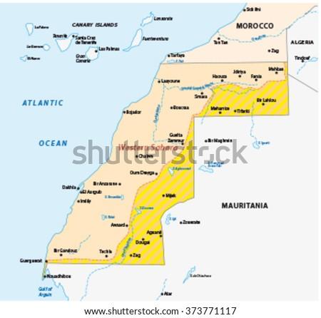 western sahara map - stock vector
