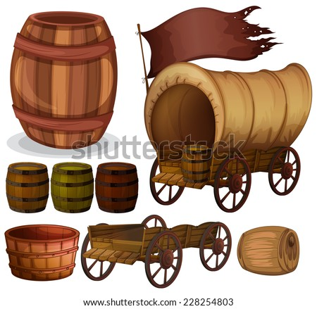 Western theme with wagons and barrels - stock vector