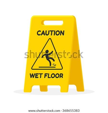 Wet floor sign. Isolated flat vector illustration. - stock vector