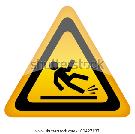Wet floor warning sign, eps10 vector illustration - stock vector