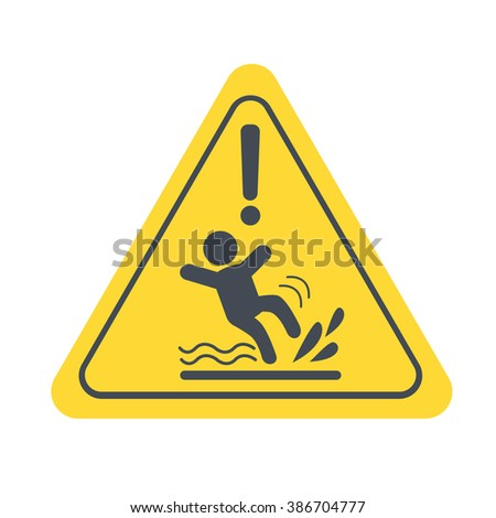 Wet Floor warning sign. Vector yellow triangle with falling man. Vector sign isolated on white background. - stock vector