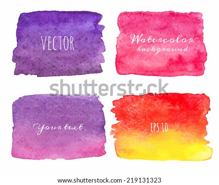Wet Watercolor Ombre Backgrounds. Hand Painted. Vector isolated illustration. - stock vector