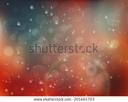 Wet window with the background of the autumn night city. plus EPS10 vector file - stock vector